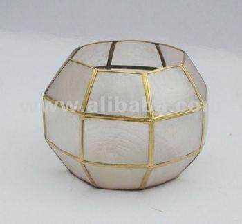 Capiz ball lamp ball candle holder shell lamp buy shell lamp product on - Capiz shell tealight holder ...