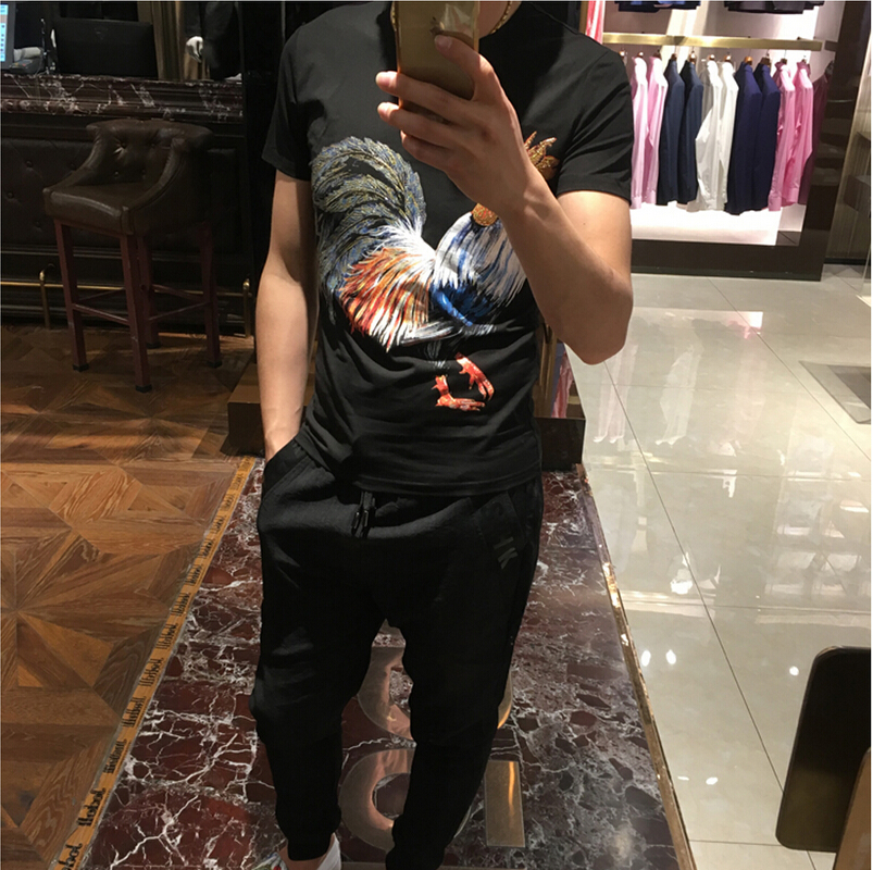 New European American fashion brand 2017 summer cock head logo gold  stamping individuality slim fit short sleeve round collar me - us683 622bfdbf3f