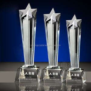 Wholesale newest exalted custom crystal glass award trophy for Sports events