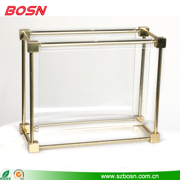 Popular customized clear acrylic magazine rack with a rectangular brass frame