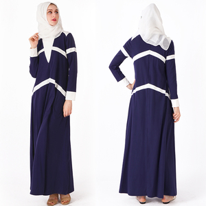 2019 white strip new model abaya in dubai modest jersey abaya egypt muslim exerices clothing