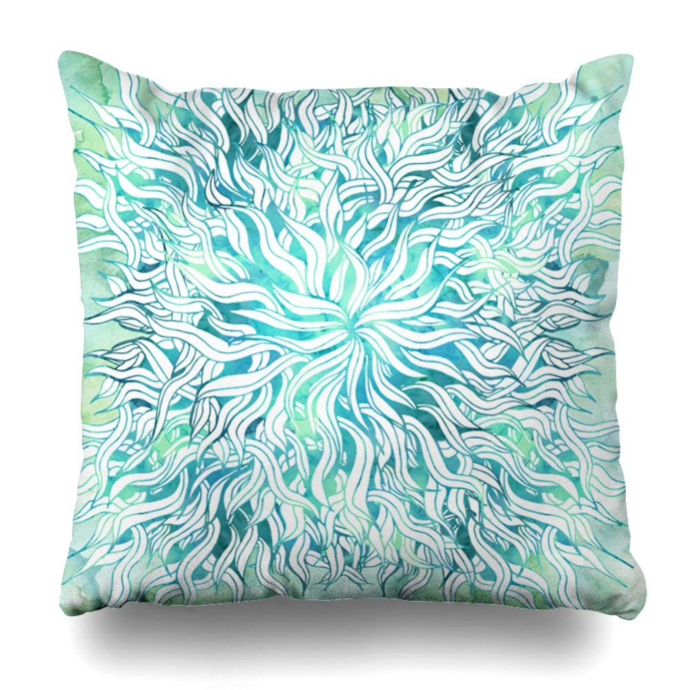 "Decorative Pillow Cover 20""X20"" Two Sides Printed Summer Modern Blue Turquoise Watercolor Seaweed Round Pillow Throw Pillow Cases Decorative Home Decor Indoor/Outdoor Nice Gift Kitchen Garden Sof"