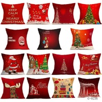 Linen Cushion Cover Christmas Decorations for Home Santa Claus Christmas Tree Pattern Xmas Decoration New Year Decor Pillow Case