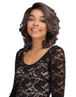 factory price Afro style short deep wave Synthetic brown Wig Lace Front best seller in the us For American black Women