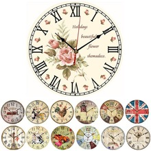 F85 Free Shipping Vintage Wooden Wall Clock Large Shabby Chic Rustic Kitchen Home Antique Style