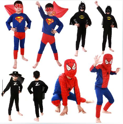 50sets lot Free Shipping font b Children b font Boys Spiderman Superman Zorror Batman Superhero font