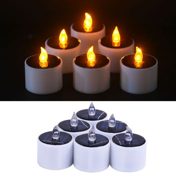 Decoration Christmas Yellow Flicker Solar Led Light Candles Flameless Electronic Nightlight Energy