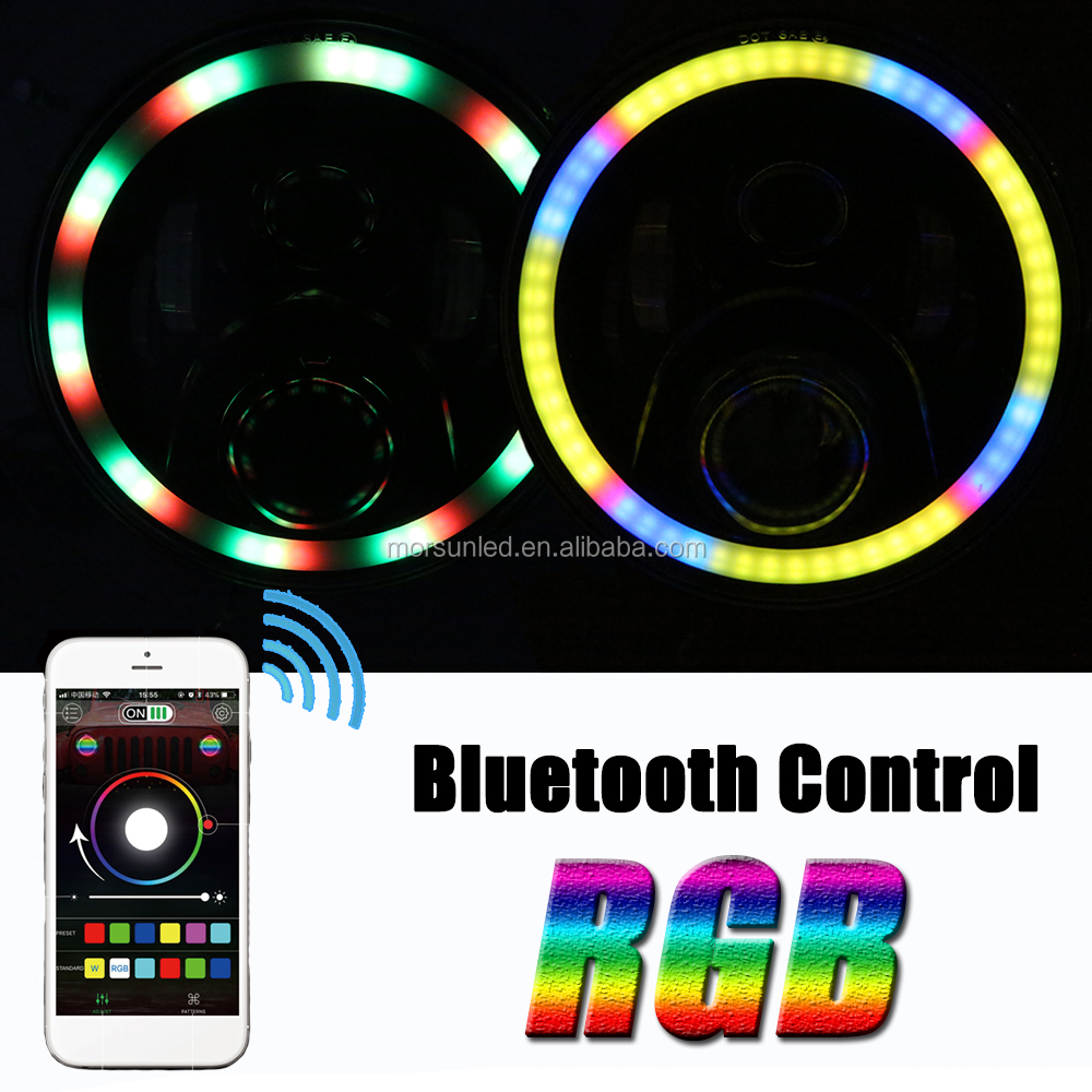 Multi Function 7 inch rgb led headlight for jeep Wrangler jk/land Rover Defender bluetooth control light for jeep rgb headlight