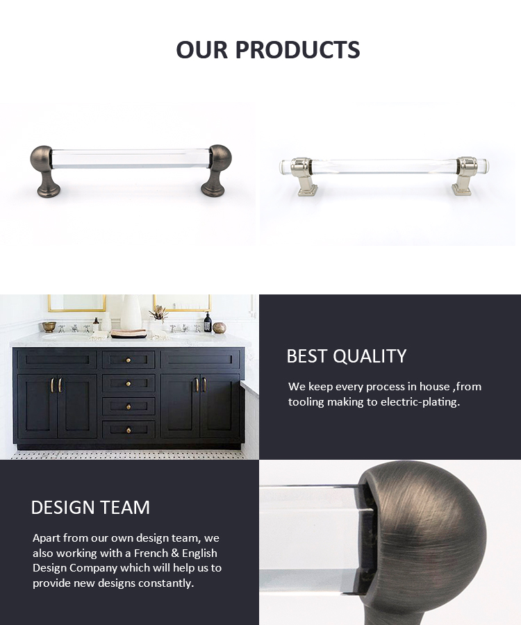 Hot selling furniture pull handle cabinet crystal pull handles