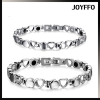 European Style High Quality Couple Titanium Stainless Steel Hollow Heart Shape Health Care Magnetic Anti-radiation Bracelet