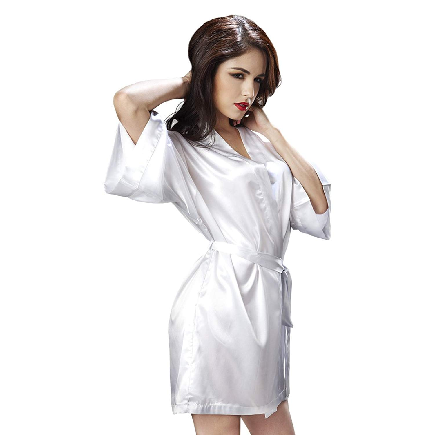Get Quotations · LingerLove Satin Kimono Sexy Vintage Robes for Women  Lingerie Chemise Set Short Sexy Sheer Sleepwear 9f03e6ae5