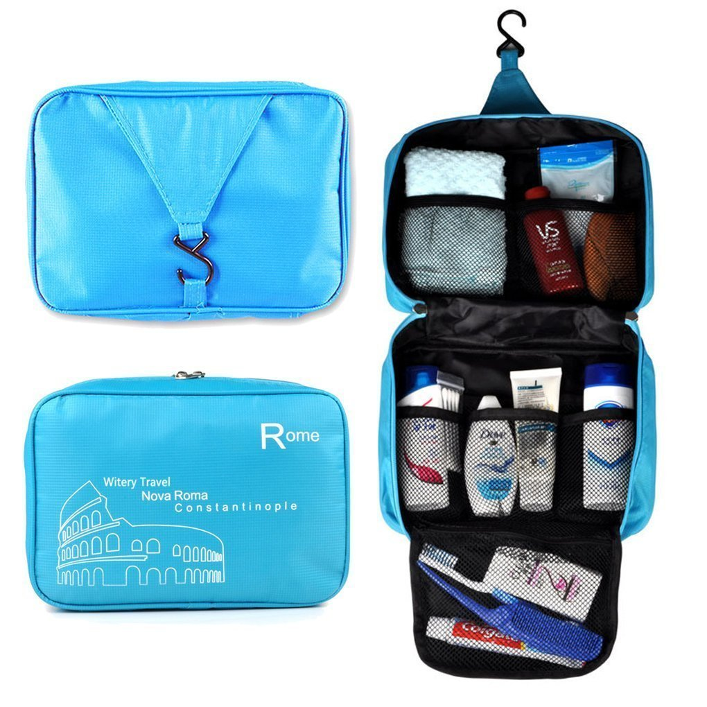 naughtygifts Spacious Hanging Toiletries Make Up Wash Bags Cosmetics Bags Portable Multifunctional Unisex Water Resistant Printing Travel Hook Up Bags(Blue)
