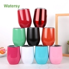 best seller 2019 12oz Double wall stainless steel thermos stemless wine glass , vacuum wine tumbler with lid