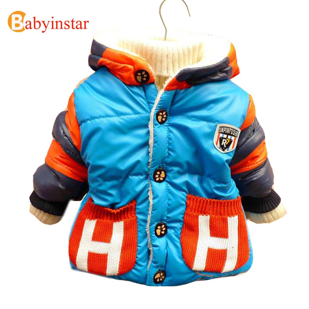 2016 New Child Boys Casual Snow Wear Hooded Down Baby Winter windproof Thick Striped Outwear Baby