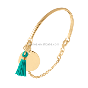 new tassel bangle with round tag engraved bracelet 2017 jewelry