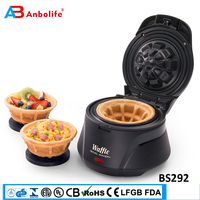 Anbo professional eggette waffle maker machine bowl shape best serving ice cream industrial electric Belgian waffle bowl maker