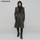 WY854 western fashion Christmas gothic punk leather strap green man long coat