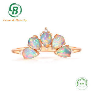 Stackable multi gemstone jewelry crown 925 Sterling silver synthetic opal ring