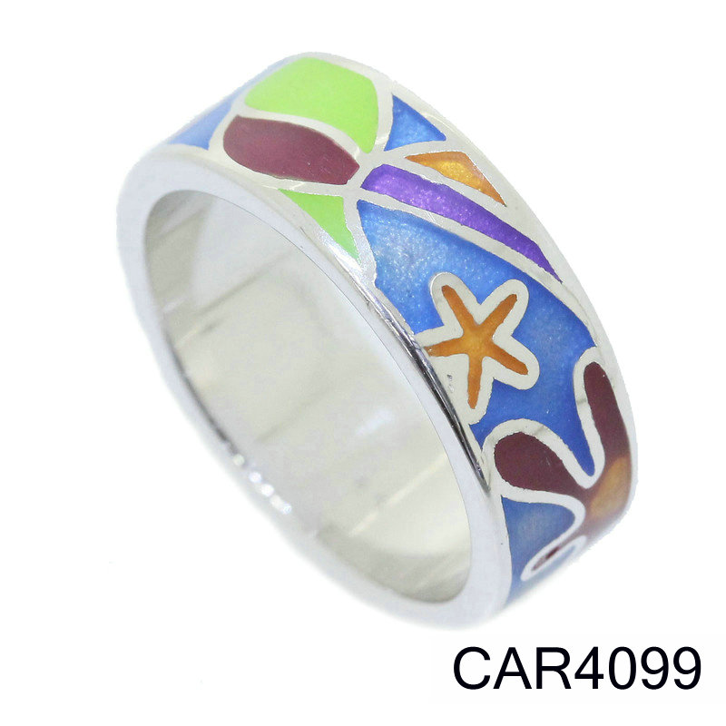 Factory Ring Fashion Design Photo 2017 New Jewelry 925 Sterling Silver Ring Color Enamel Ring