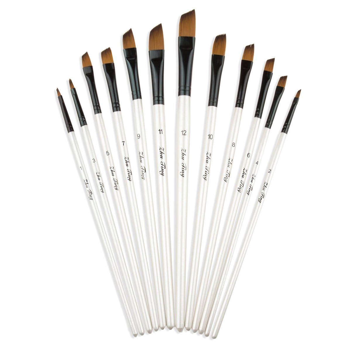 CBTONE Angular Paint Brush, 12pcs Nylon Hair Angled Paint Brushes Set Art Paintbrush for Watercolor, Acrylic, Gouache, Oil Painting - White