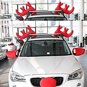 get quotations meiruian 1 pair red antlers for christmas holiday decor to clip on your car