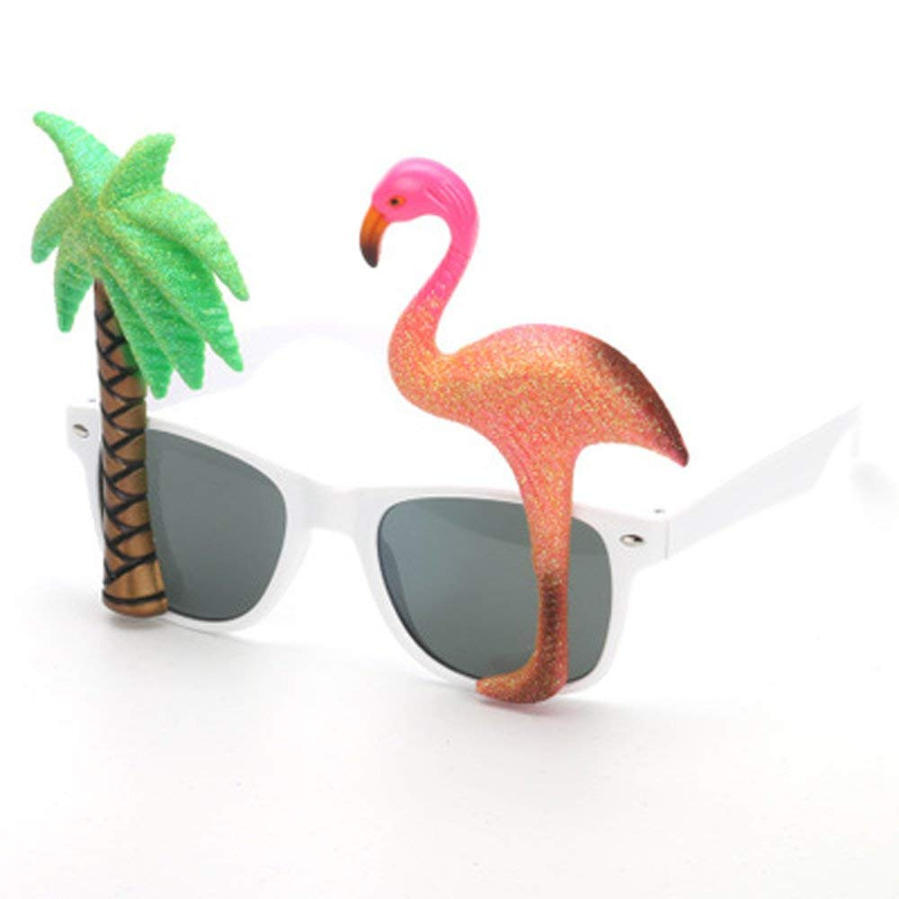 10447ec2f37 Get Quotations · Coconut Trees And Flamingos Summer Party Sunglasses