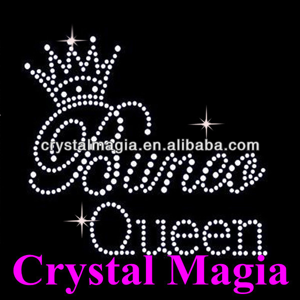 crystal bunca queen with crown clothes heart transfer hotfix motif