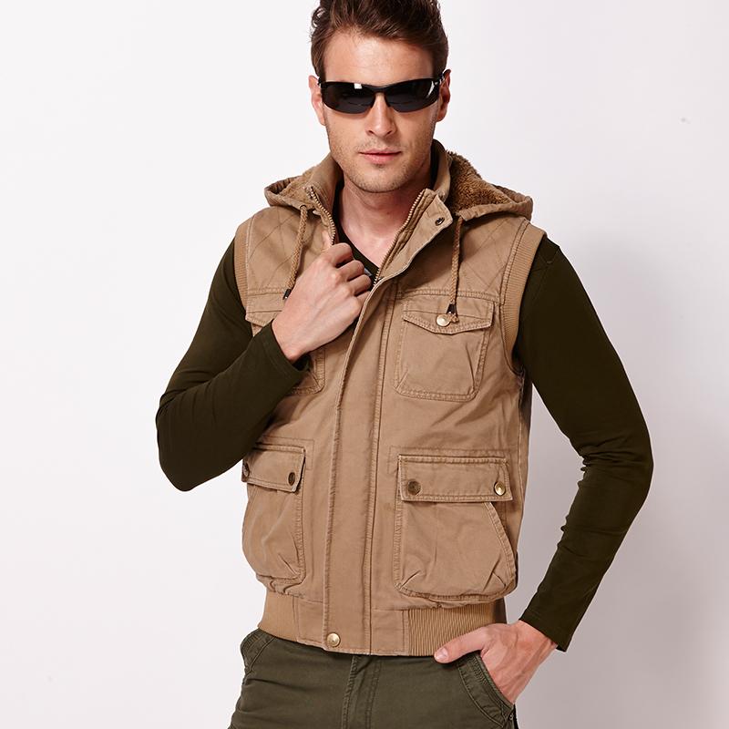 Autumn Winter Mens Vest Casual Warm Hooded Sleeveless Vest ...
