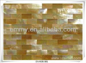 Rettangolo giallo oro madreperla conchiglia mosaico muro di