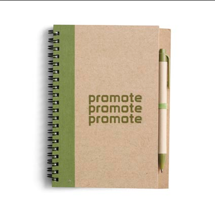 Promotional recycled craft paper notebook pen gift set