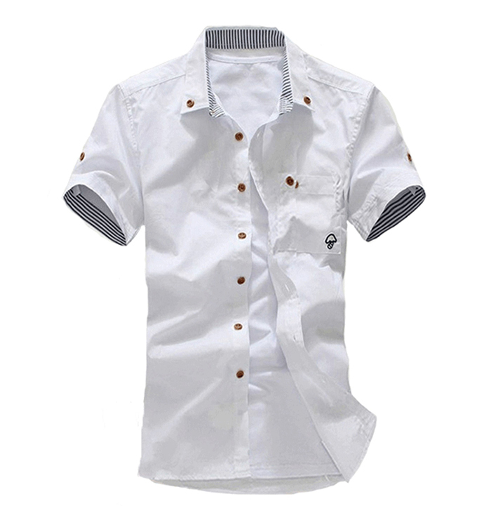 05d894a0beb2 Get Quotations · 2015 Mens Short Sleeve Dress Shirts Summer White Shirts  Turn Down Collar Button Cusual Camisa Social