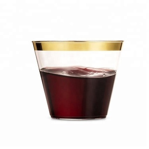 Party Holiday And Occasions Gold Rim Plastic Cup