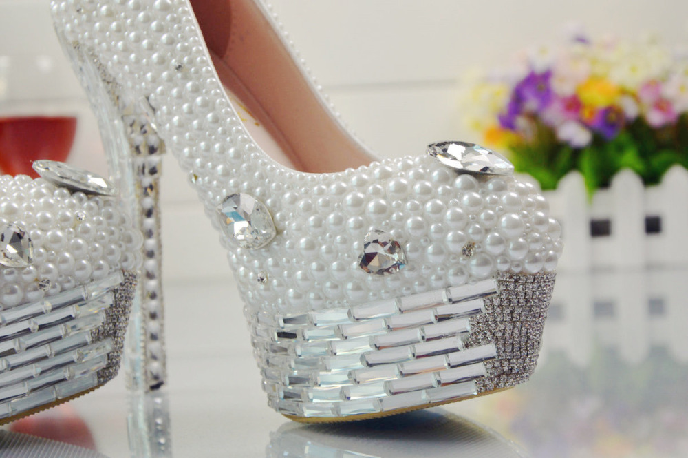 Christmas white dress wedding shoes shoes shoes high platform heels Wedding silver BS026 banquet pearls qCYwRR