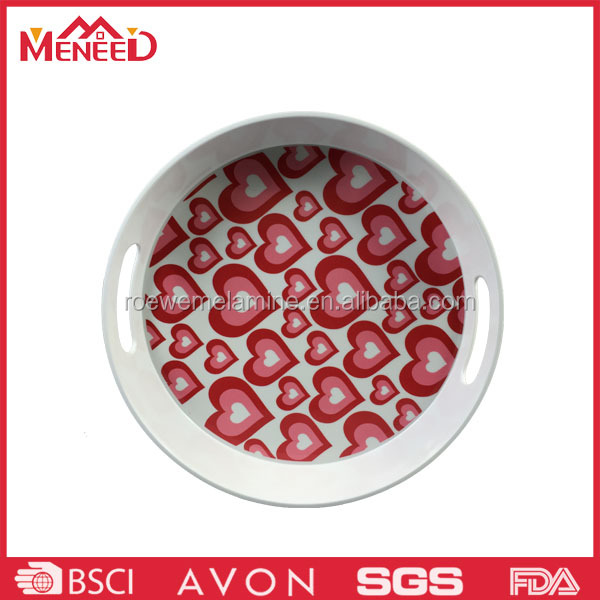 Red heart printing bulk buy melamine round serving tray, practical plastic food tray with handles