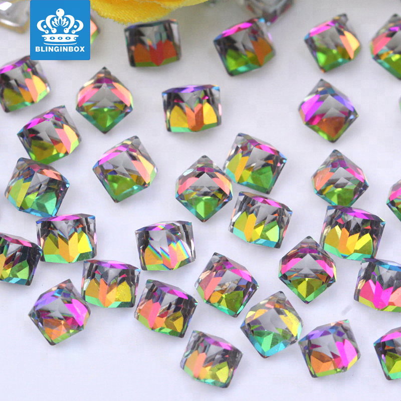 Nail Art Glass Square Cube Crystal 3D Nail Stones For DIY Decoration