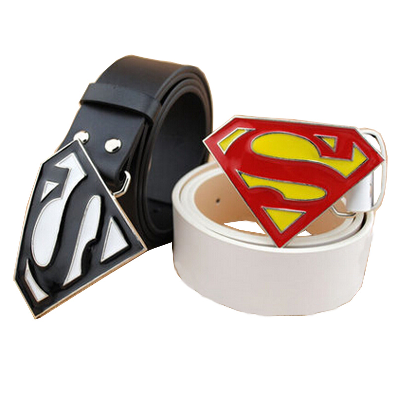 1c25db83f90 Get Quotations · Superman belt man cartoon couples belt fashion boy straps  buckle men leather belts diy black white