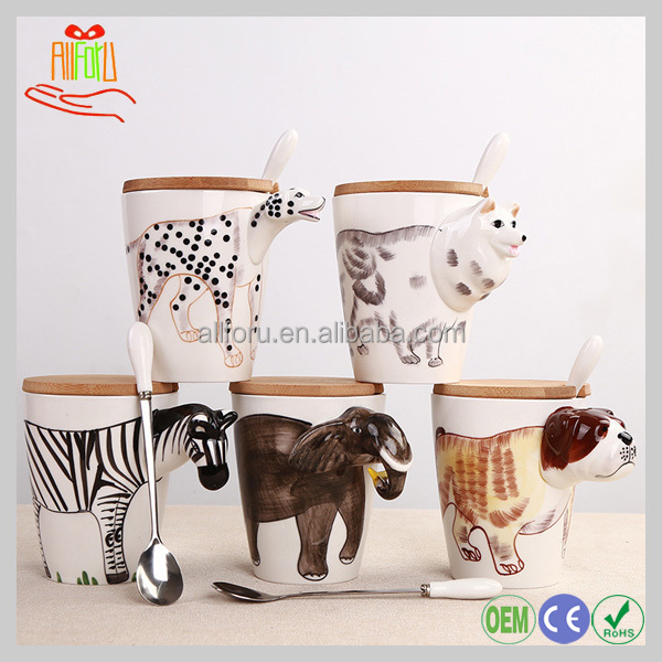 Eco-friendly Product Promotional Coffee Mug Ceramic With Lid and Spoon