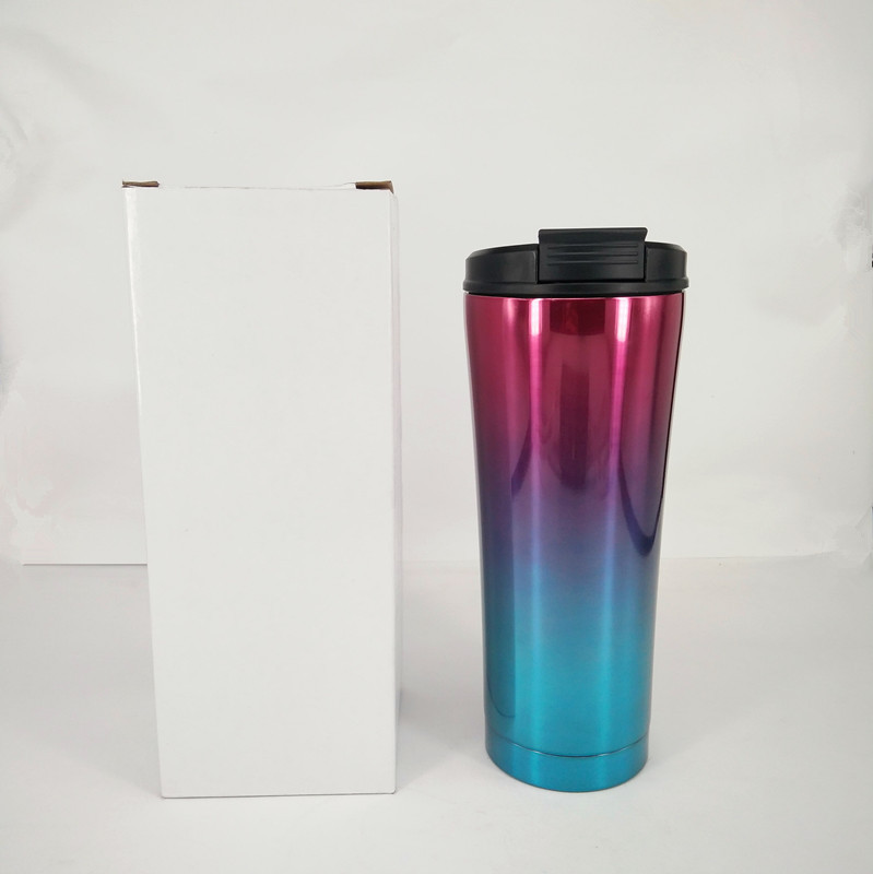 500ml Custom Personal Logo Printing Glitter Vacuum Car Mug Stainless Steel Travel Mug with Straw Lid