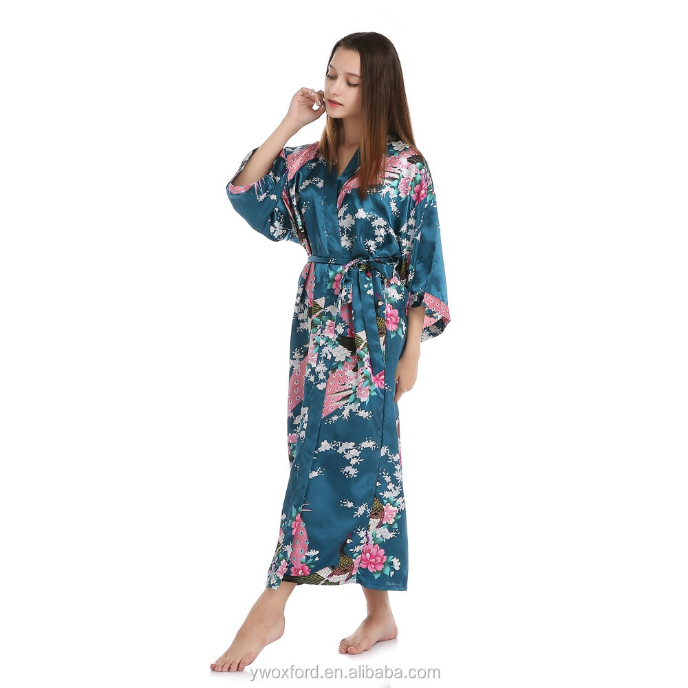 Wedding Party Gifts Women Floral Silk-like Kimono Long Robes for Bride and Bridesmaid