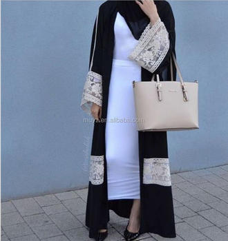 L2471a Fashionable Black White Lace Long Tail Cardigan Robe Muslim Dress