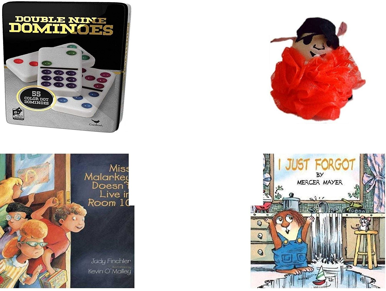 Children's Gift Bundle - Ages 3-5 [5 Piece] - Double 9 Color Dot Dominoes Game - The Wiggles Captain Feathersword Net Bath Sponge - Ty Beanie Baby - Beani the Gray Cat - Miss Malarkey Doesn't Live i