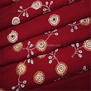 VINTAGE SARI FLORAL EMBROIDERY CHIFFON CRAFTED FABRIC INDIAN MAROON WRAP SAREE