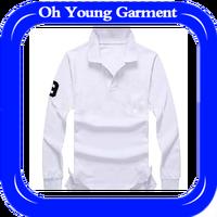 OEM Service Men Fashion Elegant Pure Color Long Sleeve Polo Shirt