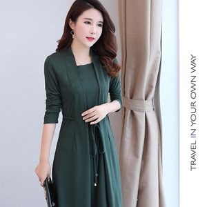 The latest women knee-length plus-size middle-aged casual mother dress