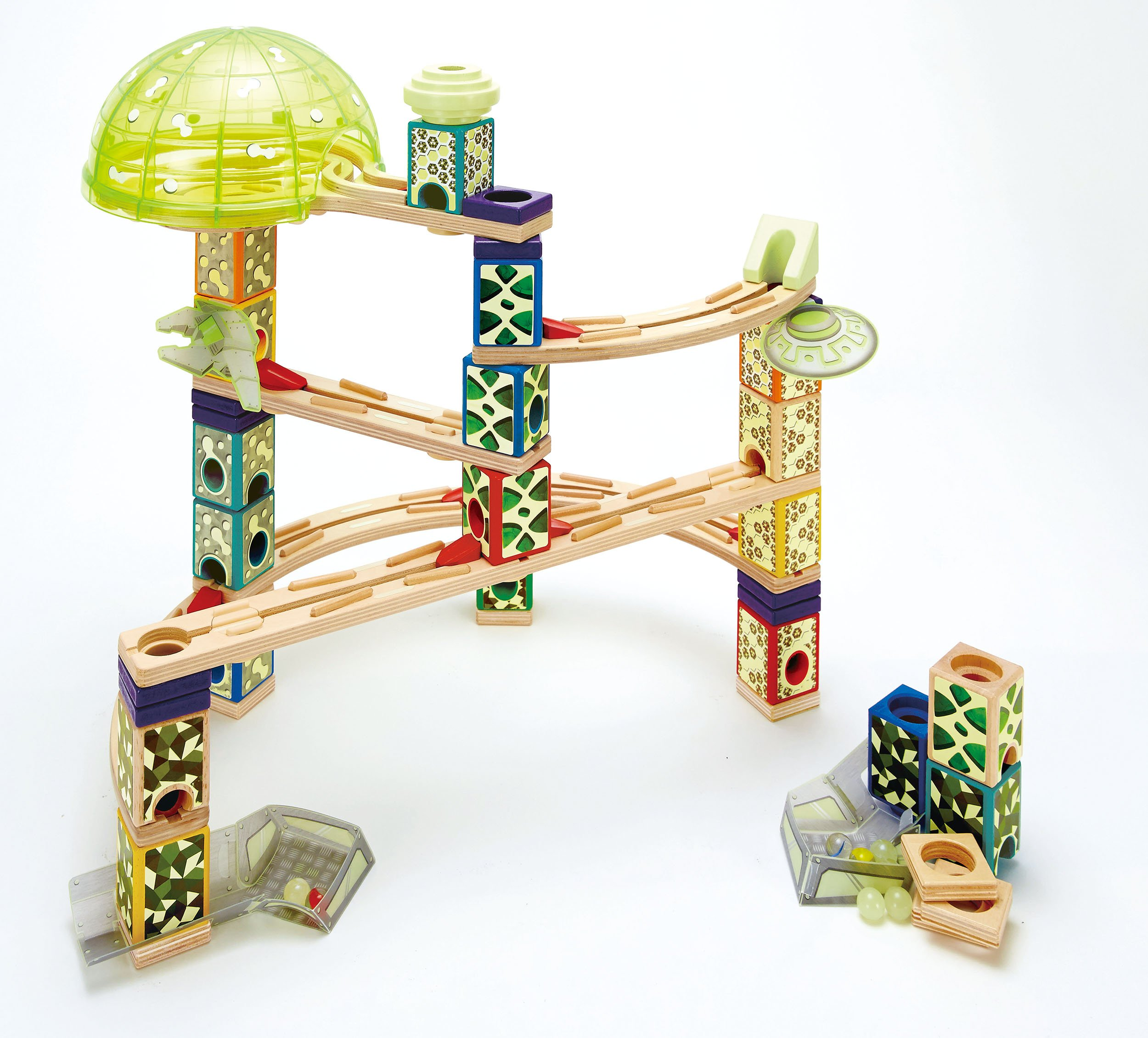 Award Winning Hape Quadrilla Wooden Marble Run Construction - Space City