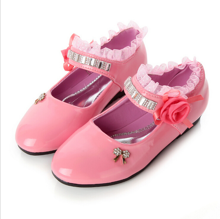 9c350eb73c665 Get Quotations · 2015 new girls pink black leather shoes
