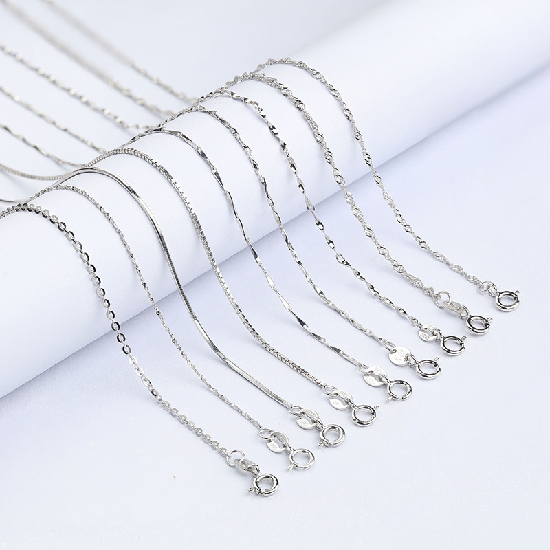 Classic Basic Chain 925 Sterling Silver Lobster Clasp 45cm Snake Necklace Chain Fashion Jewelry