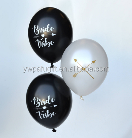 black and white bride tribe balloons wedding latex balloon hen party