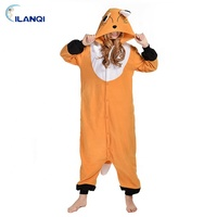 Costume orange fox animal onesie adult hooded pajamas for halloween