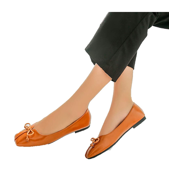 Soft Leather Flat Women Ballet Flats Shoes Black Square Toe Bowtie Shoes 7579fc6d3